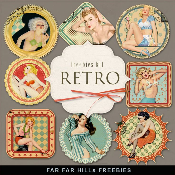 New Freebies Kit of Labels - Retro:Far Far Hill - Free database of digital illustrations and papers