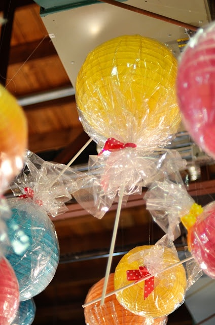 candy party decorations-paper lanterns with cellophane around them to look like candy
