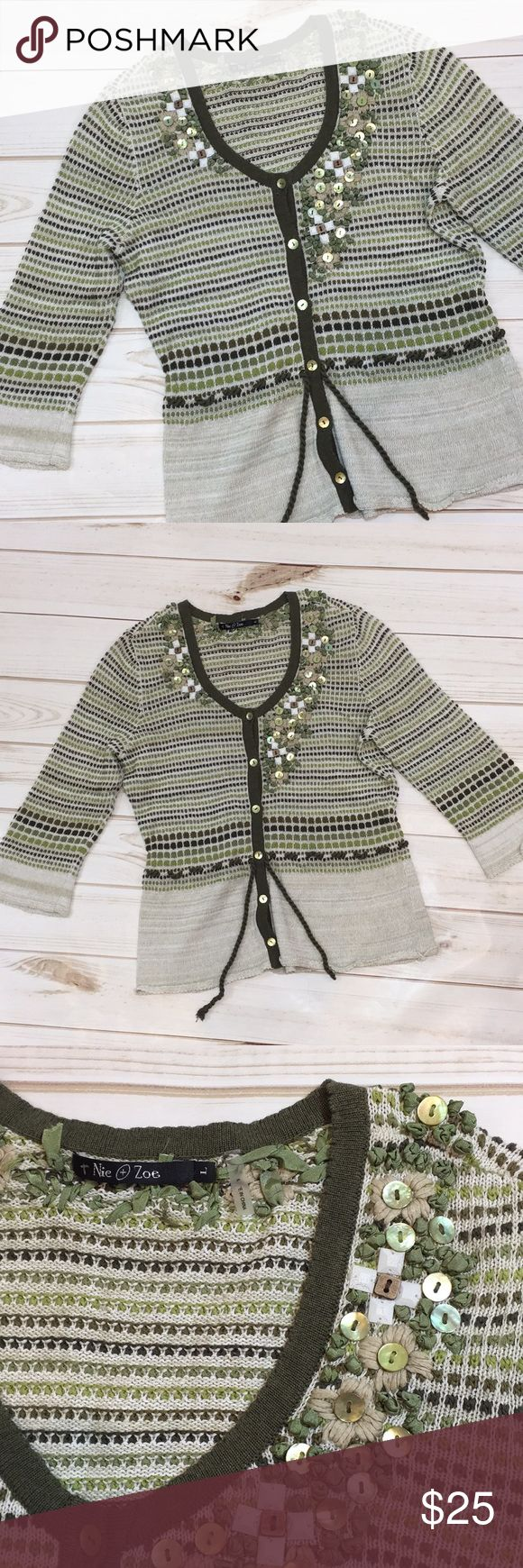 "Nic and Zoe embellished cardigan sweater Nic and Zoe embellished cardigan sweater in size large. There are 3/4 length sleeves. The colors are various shades of green and tan. Approximate measurements: length 22.5"" and chest 18"". NIC + ZOE Sweaters Cardigans"