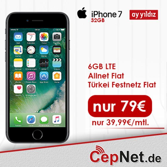 Apple iPhone 7 32GB mit Ay Yildiz Ay Allnet Plus für nur 79€ (monatliche Grundgebühr 39,99€) ✔ 6 GB LTE mit bis zu 21,6 Mbit/s 🚀 ✔ Deutschland Allnet-Flat ✔ Türkei Festnetz Flat ✔ Rufnummer mitnehmen (wenn gewünscht) = Gerätezuschlag einmailg nur 79€ Apple iPhone 7 32GB in SCHWARZ nur 79€  ➟http://www.cepnet.de/apple-iphone-7-32gb-schwarz-mit-vertrag-ay-yildiz-ay-allnet-max.html Apple iPhone 7 32GB in GOLD nur 79€…