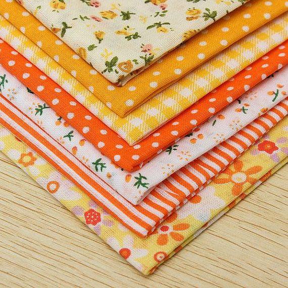 New Bulk Fabric Cotton Quilt Patchwork 7 pcs Orange by SuppliesDiy
