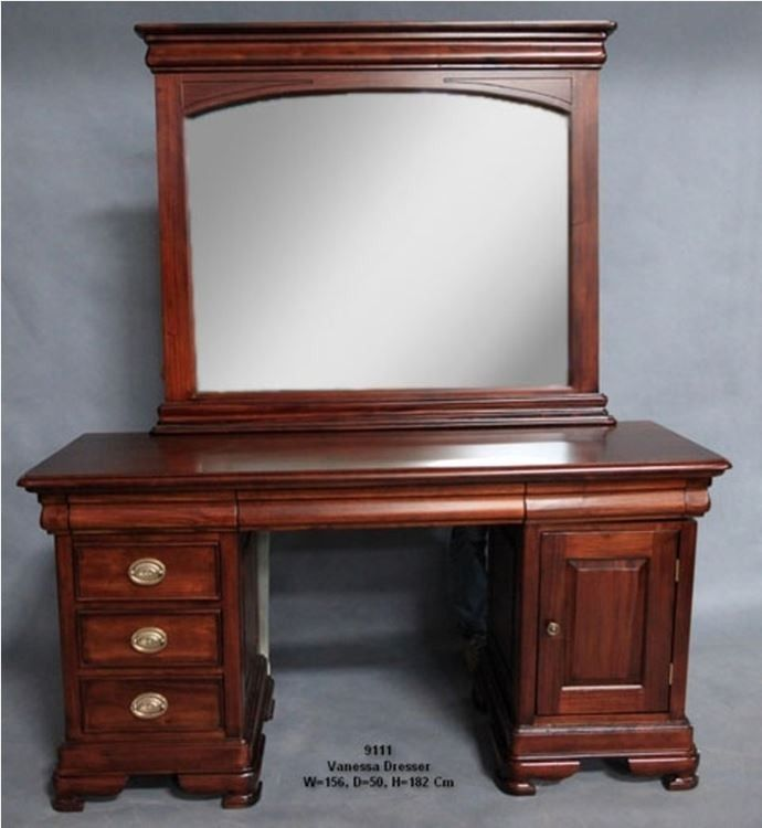 Antique Style Mahogany Wood Bedroom Furniture Dressing Table & Mirror 9111