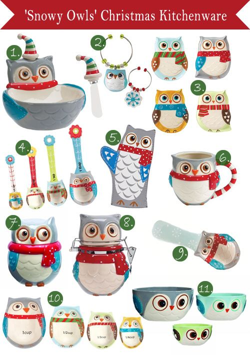 'Snowy Owls' Kitchenware for Christmas