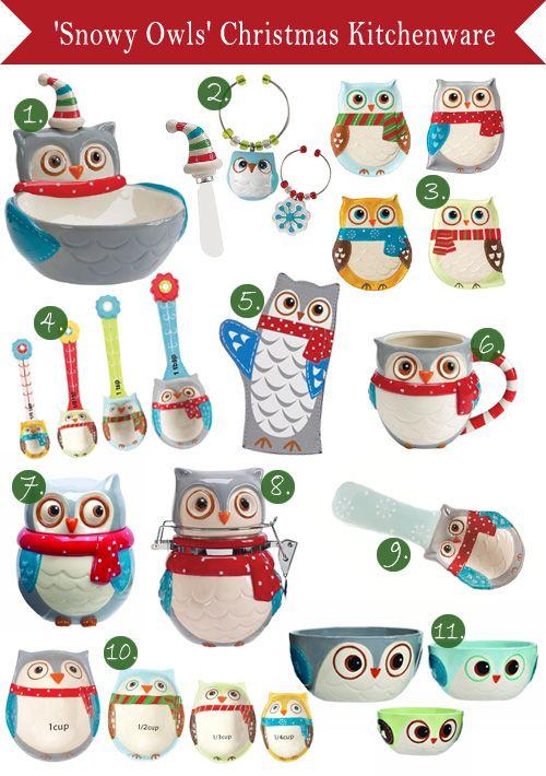 Mi lechuza común: Utensilios de cocina 'Snowy Owls' para Navidad