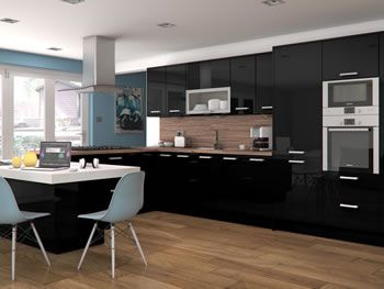 High Gloss Black Kitchens & Kitchen Units At Trade Prices - DIY Kitchens