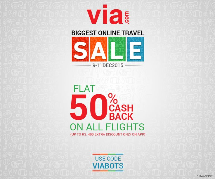 Flat 50% Cashback on all flights. Use code VIABOTS. 3 days of crazy deals! Avail via http://bit.ly/viabots_flights
