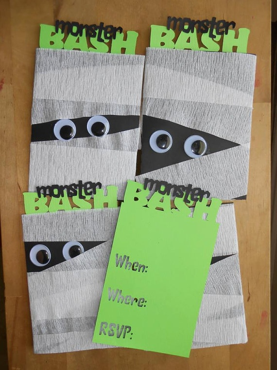 Monster Bash Mummy Halloween Invitations by theflutterfly on Etsy, $12.00 for a set of 8! Super Cute!