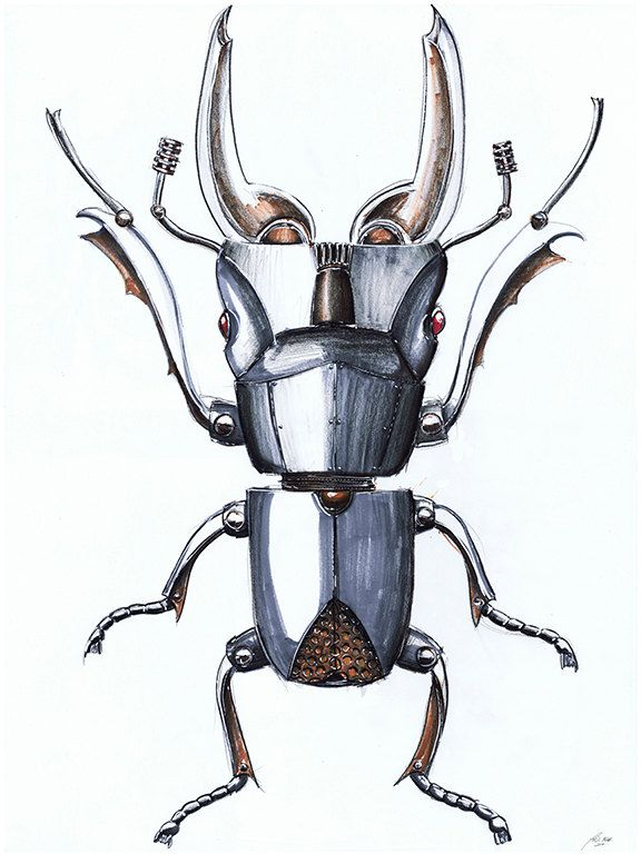 Original Beetle Mechanical Insect Concept Drawing by Zendustria on Etsy