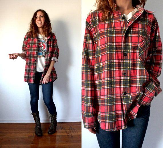 Vintage Grunge Red Flannel Button Down Shirt Oversized