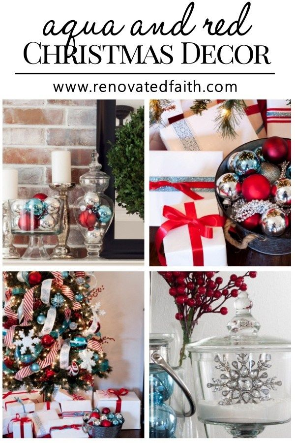 red and aqua christmas d cor red and turquoise christmas ornaments rh pinterest com