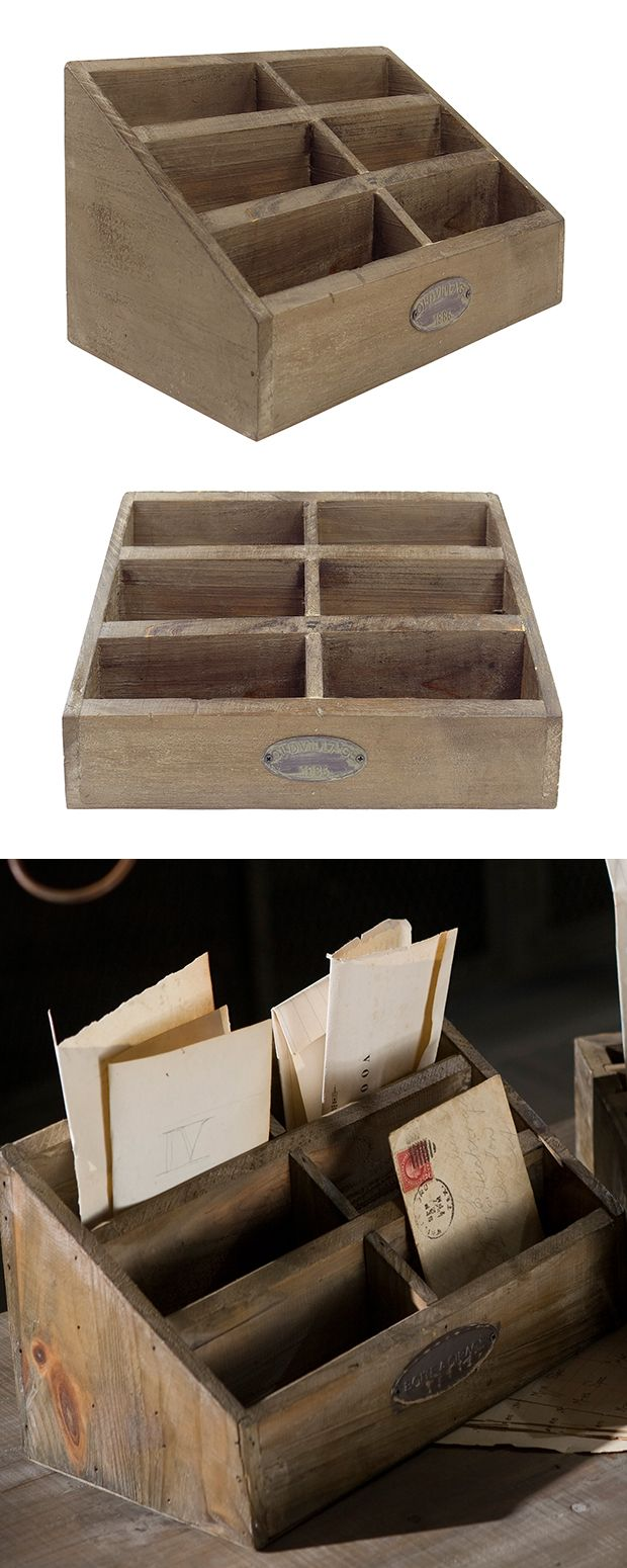 Paperwork overtaking your workspace? Tidy up with this rustic desktop letter holder. Made of recycled pine wood, this letter box keeps all of your bills in one convenient storage spot.  Find the Desktop Letter Holder, as seen in the When Industrial Took Flight Collection at http://dotandbo.com/collections/when-industrial-took-flight?utm_source=pinterest&utm_medium=organic&db_sku=120482