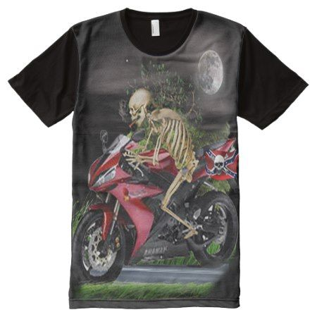 skull motorcycle rider All-Over-Print T-Shirt - click/tap to personalize and buy