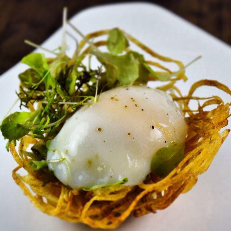 Soft Poached Egg, Potato Nest, Caramelized Onion and Pancetta Vinaigrette