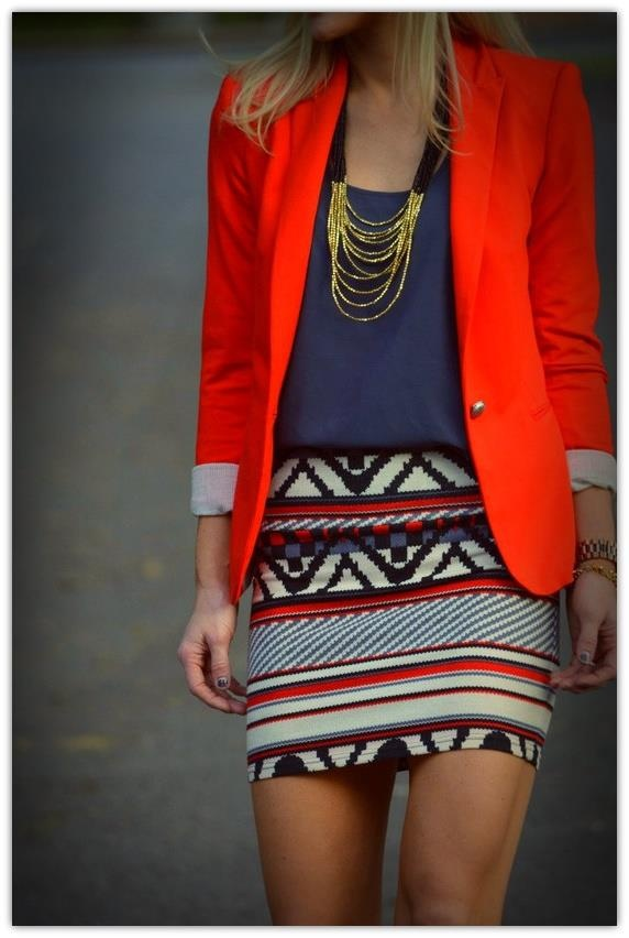 bright blazer & printed skirt, perfect for a night out with Chicago's fashion's finest