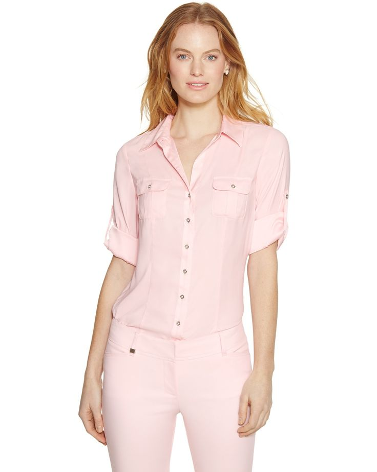 Long Sleeve Button Front Pink Soft Shirt - White House | Black Market