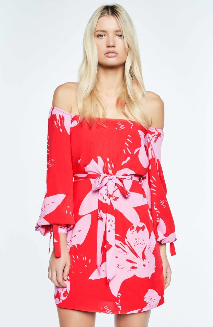 Oh So Vivid and Vivacious, this shoulder-baring mini brightened with tropical flowers is ready for the warmer months. Bardot Dariela Off the Shoulder Minidress