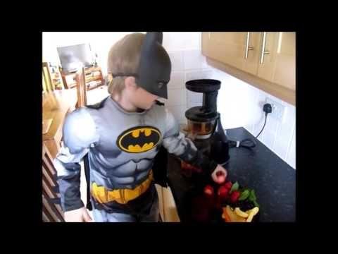 Batman enjoying making his 5 a day juice