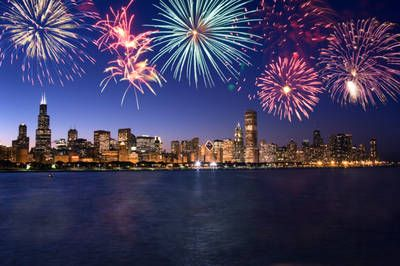 4th of July over the Chicago skyline