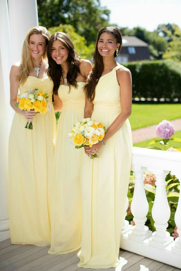 48 best bridesmaid dresses images on pinterest bridesmaids yellow bridesmaid dress bridesmaids looking lovely in long lemon yellow dresses can feel the joyfulness through the picture ombrellifo Gallery