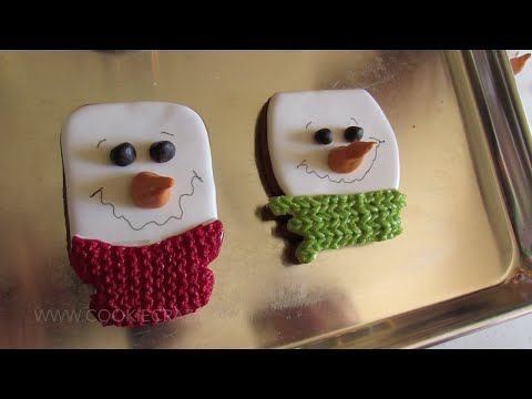 Snowman Head Decorated Cookie Video - YouTube