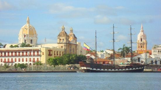 View on Old Town from harbour - Cartagena