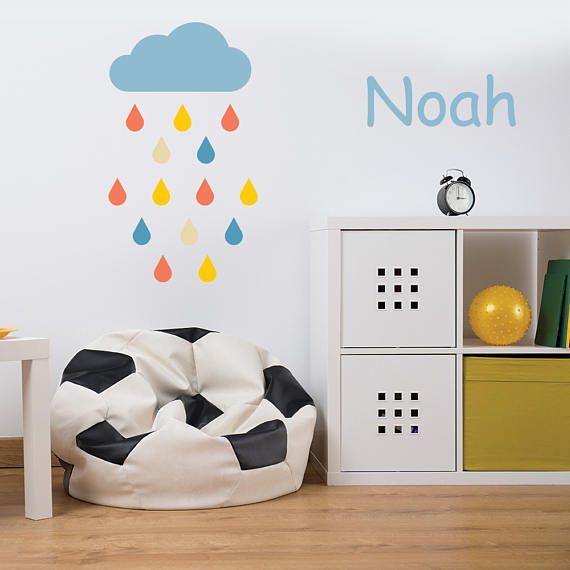 Cloud and rain drop wall decal, personalized name decal, wall sticker, vinyl wall decal, custom wall decal, cloud & rain decal stickers 407