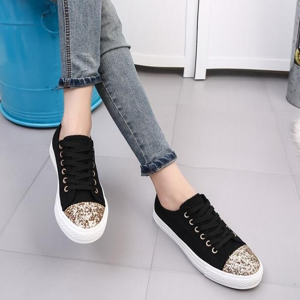 Womens Sequins Canvas Lace Up Sneakers Flat Heels Athletic Sports Mixed Color K6