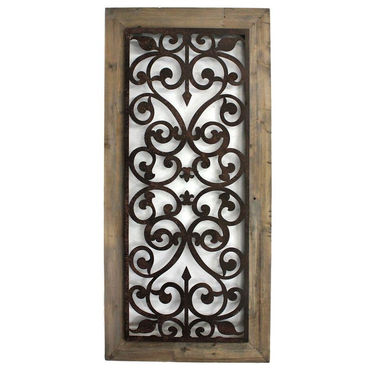 Metal wood scroll work wall plaque beauty elegant home decor handcrafted art beauty wall - Metal and wood wall decor ...