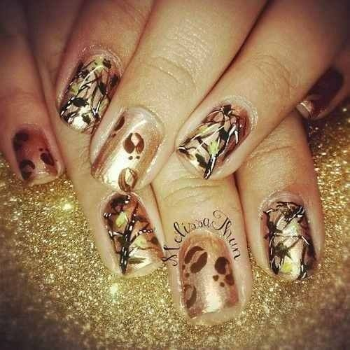 Beautiful freehand camouflage nails for hunter's wives!!