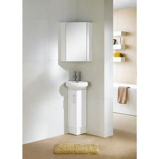 Fine Fixtures Milan Wood White Small Corner Bathroom Vanity - 13679369 - Overstock.com Shopping - Great Deals on Fine Fixtures Bathroom Vanities