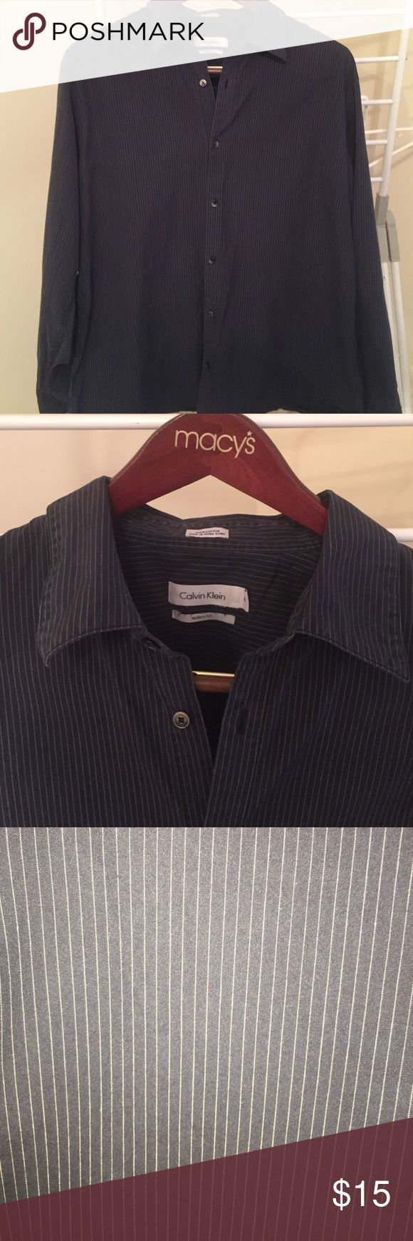 MEN's Calvin Klein navy blue striped dress shirt Calvin Klein striped navy blue dress shirt. Size XL. 100% cotton. Bought originally at Macy's. In good condition. Calvin Klein Shirts Dress Shirts