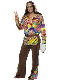 Costume Hippy uomo, tg.L. Travestimento per Carnevale o festa a tema anni '60. Il vestito include casacca, pantaloni, cintura e fascia per la testa. Disponibile da C&C Creations Store