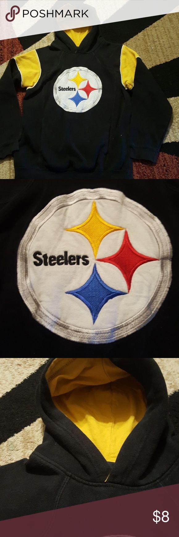 Kids Steelers sweatshirt Kids loved this .just outgrew..70%coyton,30% polyester..tons of life left...gooo steelers!!!sz 10-12..boy or girl nfl Shirts & Tops Sweatshirts & Hoodies