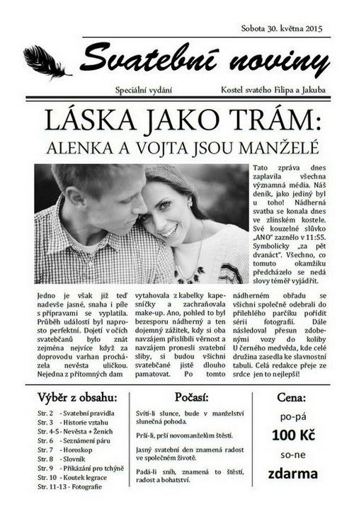 Výsledek obrázku pro svatební noviny šablona