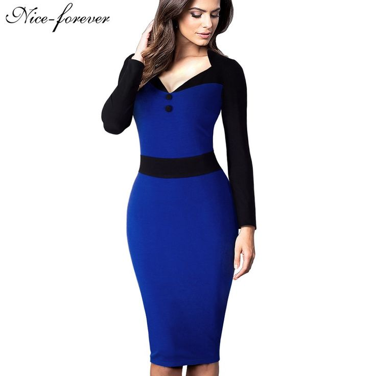 Elegant Full Length Sleeve Wide V-Neck Women Office Wear $32.47   => Save up to 60% and Free Shipping => Order Now! #fashion #woman #shop #diy  http://www.yiclothes.net/product/nice-forever-elegant-mature-casual-patchwork-full-length-sleeve-wide-v-neck-bodycon-women-office-wear-to-work-pencil-dress-b344/