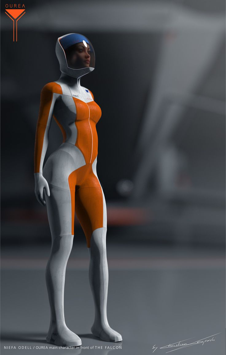 Niefa Odell, biologist and survival expert is the main character in the novel a friend and I are working on at the moment. The suit is made from NAMEC material, a Nanomechanical Suit, which is able to mimic the environment, bulletproof, heat and cold resistant, and it can morph to a certain point. You can basically glue all your equipment to it. She is posing in front of the Falcon, a Helicopter Concept of mine.
