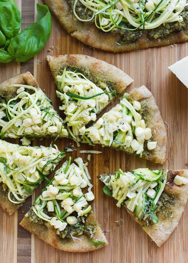 Zucchini, Corn and Pesto Flatbreads | www.kitchenconfidante.com | Use the summer's abundance of zucchini and corn in these delicious flatbreads!