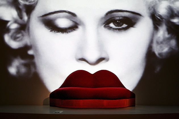 The Mae West Lips Sofa designed by Dalí in 1937 on display at the Surrealism and Design Exhibition at the museum Boymans in Rotterdam in 2007