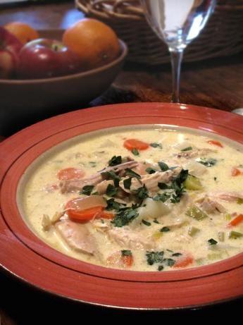 "Waterzooi of Chicken (from food.com).  Classic Belgian stew -- so yummy!  Original recipe from Ruth Van Waerebeek (""Everybody Eats Well in Belgium Cookbook"")"