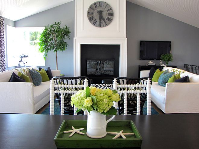 Soft charcoal gray paired with creamy whites and beige for Gray themed living room