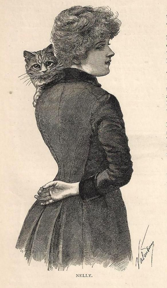 "1893 Victorian Print ""Nelly"" Beautiful Young Lady with Cat Kitten on Shoulder  #Victorian"