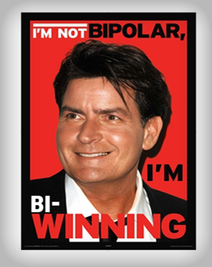 I admire Charlie Sheen. Like, a lot. He's kind of my role-model. Impulsive, crazy, off his rocker, probably on drugs. Yea, I like him.