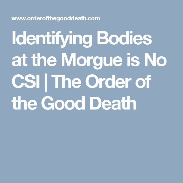 Identifying Bodies at the Morgue is No CSI | The Order of the Good Death