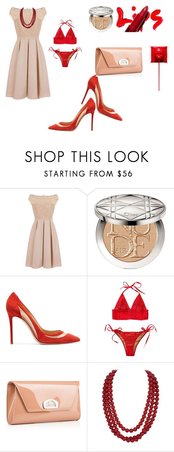 """Red and Nude"" by miamorjensin on Polyvore featuring Little Mistress, Christian Dior, Gianvito Rossi, Beach Bunny and Christian Louboutin"