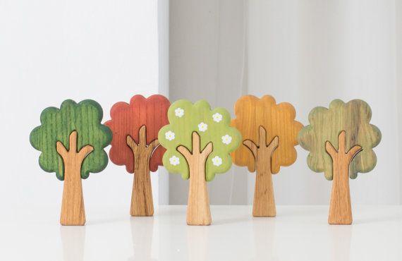 WALDORF Tree set Seasons Play set Learning Toys Wooden Tree Figurines Woodland…