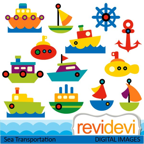 Cute sea transportation cliparts. Boats, ships, yacht, and more. These digital images are great for any craft and creative projects.