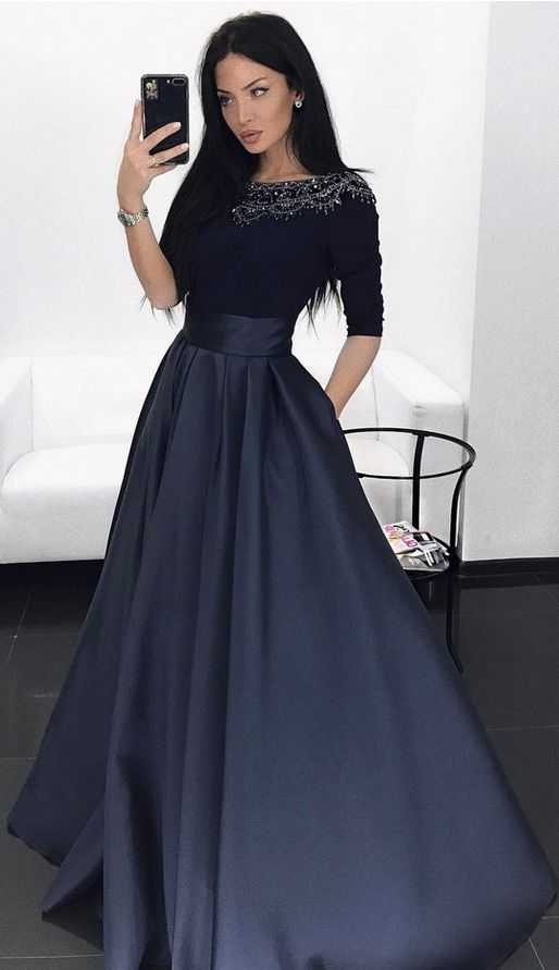 Dark Navy Prom Dress, Long Sleeves Prom Dresses Evening Dress With Pockets,Beading Spandex Satin Prom Gown