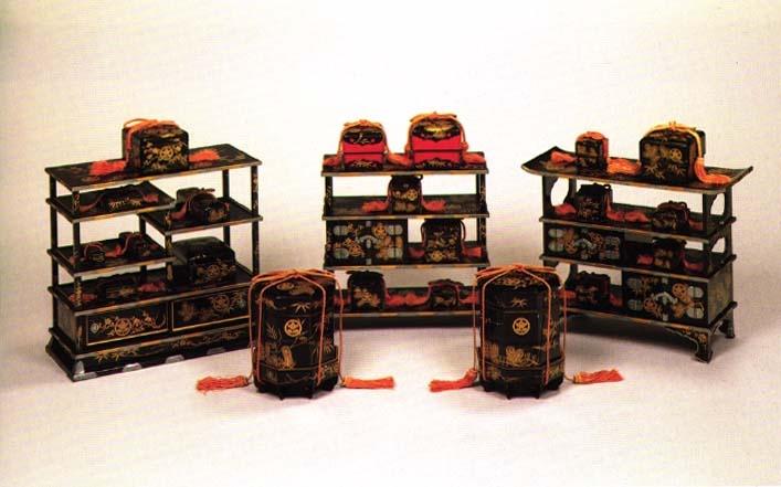 黒漆塗松竹梅橘葵紋蒔絵、弥千代姫の雛道具、江戸時代