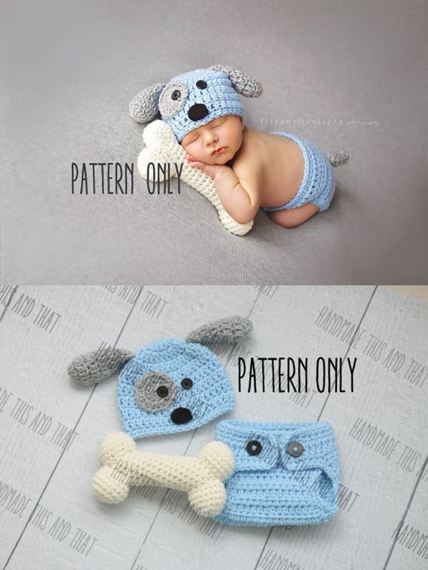 CROCHET PATTERN – Newborn Puppy hat and diaper cover and bone set, newborn photo prop set crochet pattern