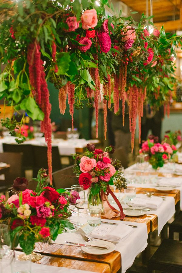 hanging amaranthus floral display - photo by Olive Photography http://ruffledblog.com/winter-garden-wedding-in-toronto                                                                                                                                                      More